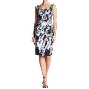 Milly Painted Floral Sleeveless Sheath Dress
